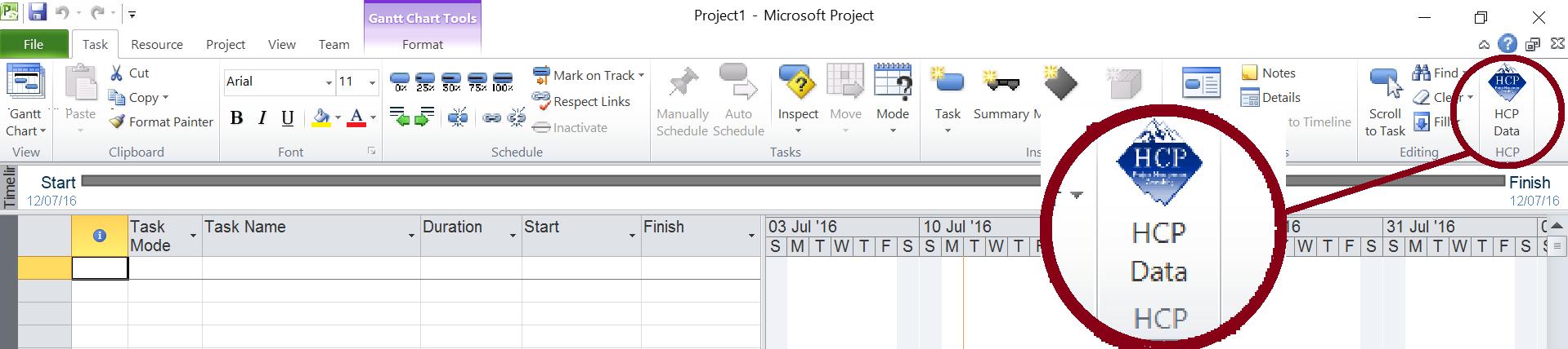 סיום הוספת צלמית HCP ל- Microsoft Project