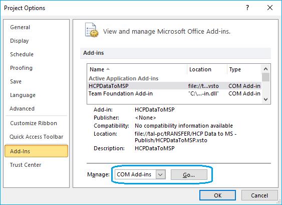 ב- 'Manage:' בחירה ב- 'COM Add-ins' ולחיצה על 'Go...'