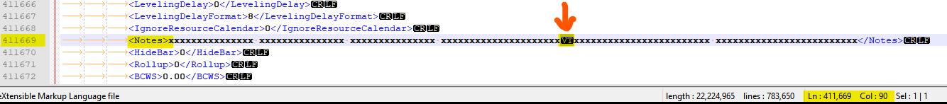 מיקום התו הבעייתי ב- xml